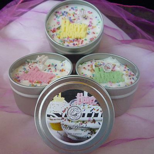 Happy Birthday Soy Cupcake Candle Tin