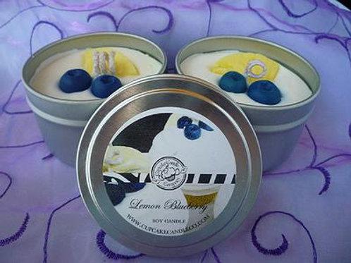 Lemon Blueberry Soy Cupcake Candle Tin