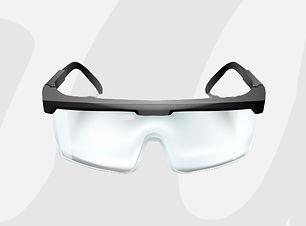gafas-seguridad-plastico-sobre-fondo-bla