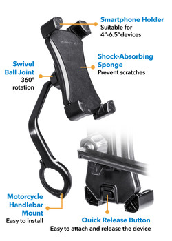 Peripower MT-MC01 Motorcycle Aluminum Smartphone Holder