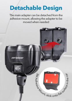 PS-U14 2+1 12V Cigarette Lighter Socket Splitter with Dual QC3.0 USB Ports