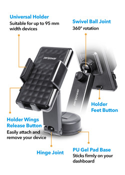 MT-D14 Dashboard Sticky Mount with Smartphone Holder