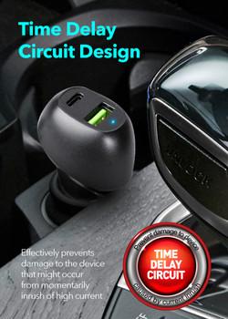 Peripower PS-U16 Type-C PD+QC3.0 Dual USB Port Car Charger