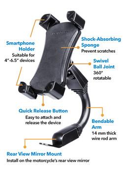Peripower MT-MC02 Flexible Arm Motorcycle Mount