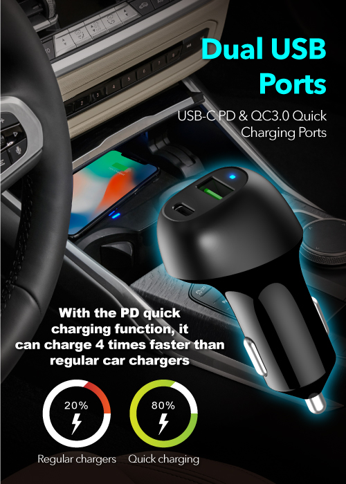 Peripower PS-U16 Type-C PD+QC3.0 Dual USB Port Car Charger