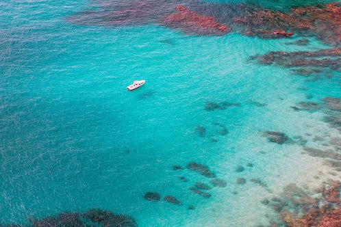 boat, sole, solo, blue, coral