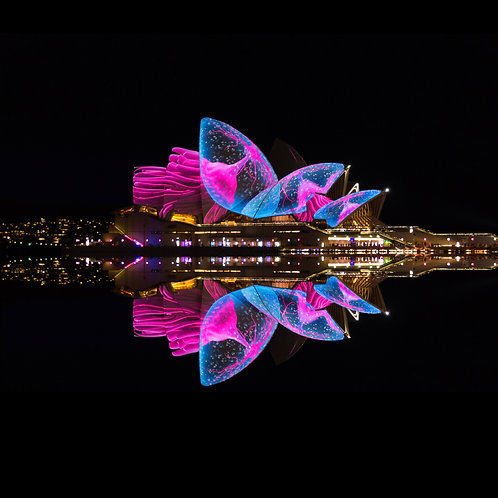 Sydney, opera house, vivid, sails, lights, night, festival