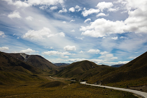 lindis pass, new zealand, south island, road, mountains