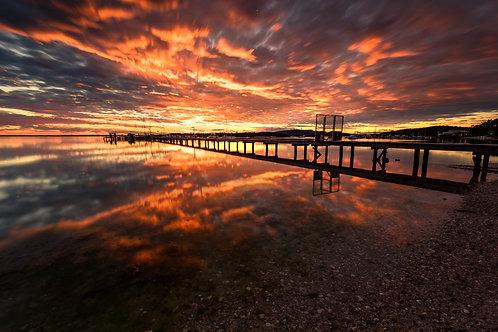 sunrise, sunset, explosive, colour, reflection, jetty, sensational, best