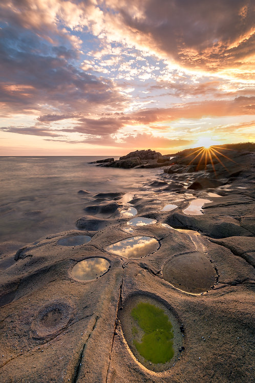 rock pools, reflection, sun, sunrise, sunset, circles
