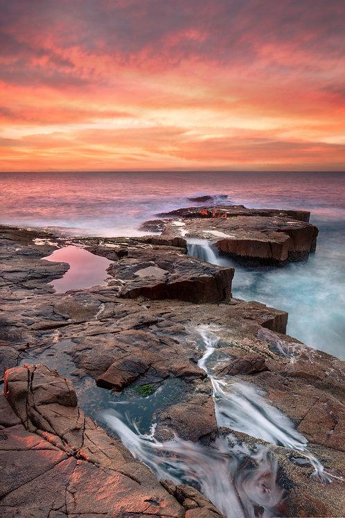 sunrise, red, rocks, sunset, rock pool