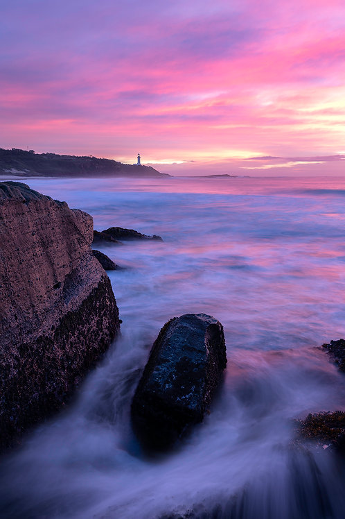 norah head, lighthouse, pink, sunrise, sunset, canon, nisi