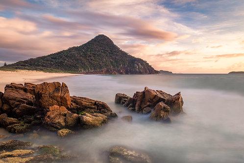 shoal bay, pastel, soft colours, sunrise, sunset, tomaree