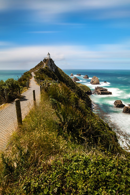 lighthouse, path, catlins, nugget point, new zealand, south island