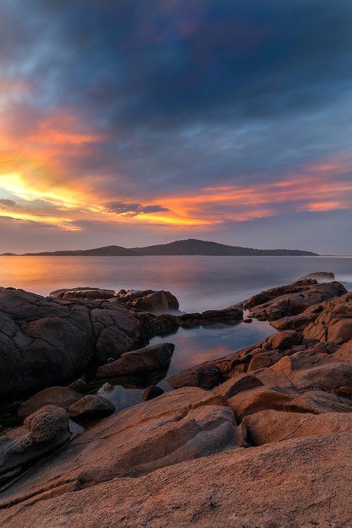shark island, fingal island, fingal bay, sunrise