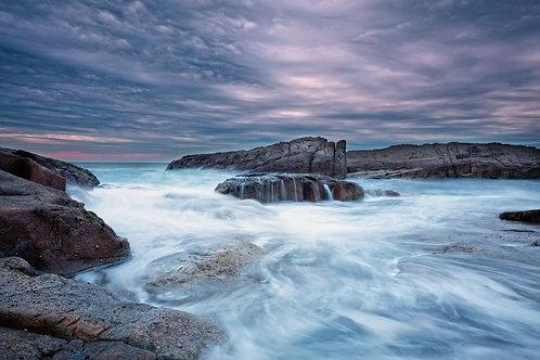 rocks, swell, purple, sunrise, sunset
