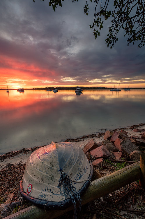 dinghy, taylors, boat, refelection, sunset, sunrise, harbour