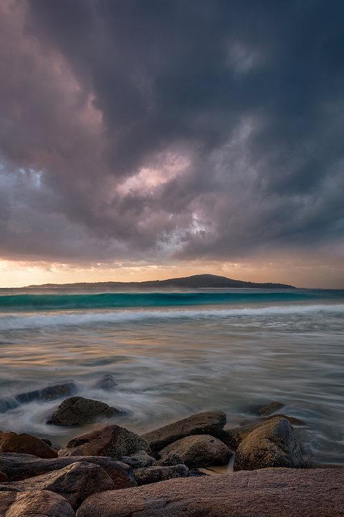 fingal island, shark island, zenith, shoal bay, sunrise, sunset