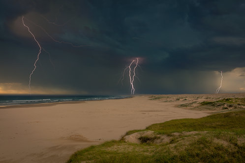 lightning, storm, weather, wild, beach, approaching