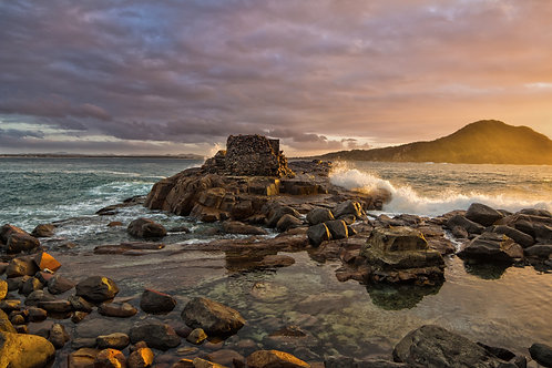 gun, emplacement, fort, water, tomaree, sunrise, sunset