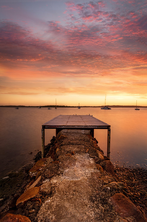 jetty, shallow water, do not jump, boats, harbour, sunrise, sunset
