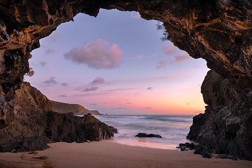 Blinkies, LHI, Blinky Beach, cave, beach cave, sunrise