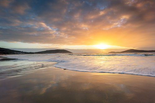 Fingal Beach, sunrise, sunset, reflection, cloud, sun