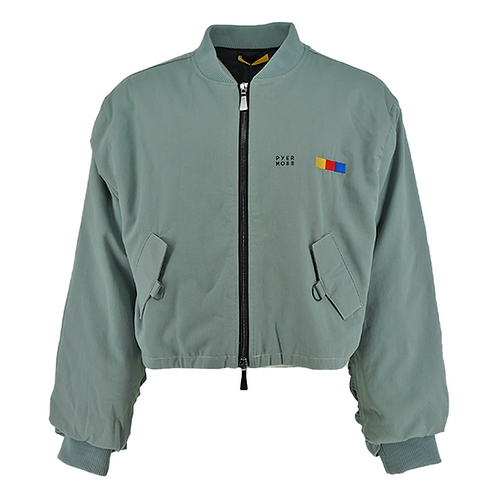 PYER MOSS CLASSIC LOGO CROPPED MA-1 BOMBER (GREEN)