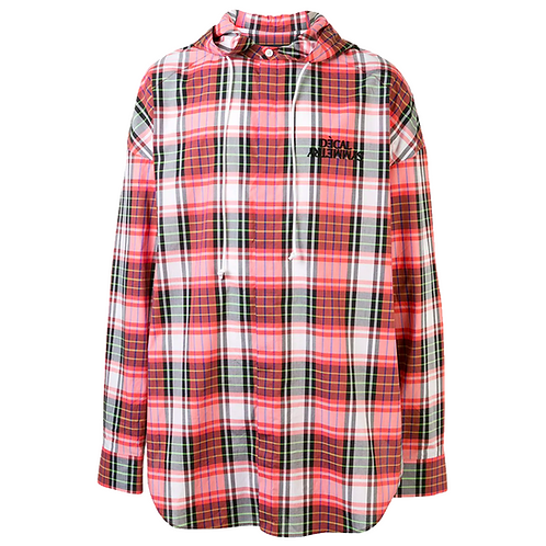 JUUN. J DECAL PLAID HOODED OVERSHIRT