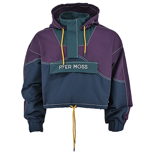 PYER MOSS PULLOVER CROPPED WAVE HOODED (PURPLE)
