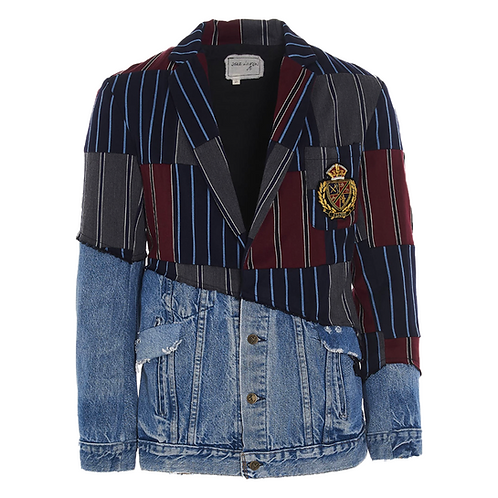 Greg Lauren Prep Stripe Scrapwork / Denim 50-50 Blazer