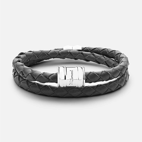 MIASAI LEATHER CASING BRACELET STEEL SILVER PLATED