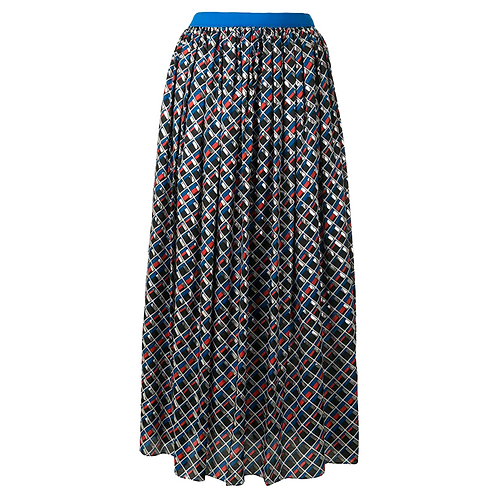 KOLOR PLEADED METALLIC SKIRT BLUE