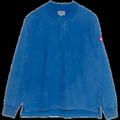 CAV EMPT BLEACHED RIB LONG SLEEVE POLO (BLUE)