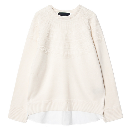 JUUN. J LAYERED KNIT SWEATER (IVORY)
