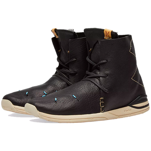 VISVIM HURON MOC HI-FOLK RED DEER BLACK