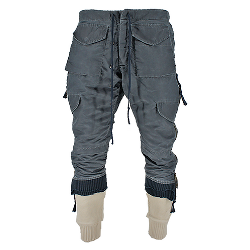 GREG LAUREN WASHED SATIN ZIP STACKED LOUNGE (AIR FORCE)