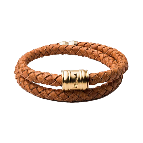 MIANSAI LEATHER CASING BRACELET TAN MATTE GOLD