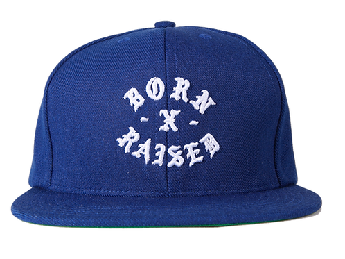 BORN X RAISED ROCKER SNAPBACK ROYAL BLUE