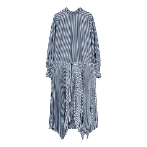 JUUN. J STRIPE PLEATS SHIRT DRESS