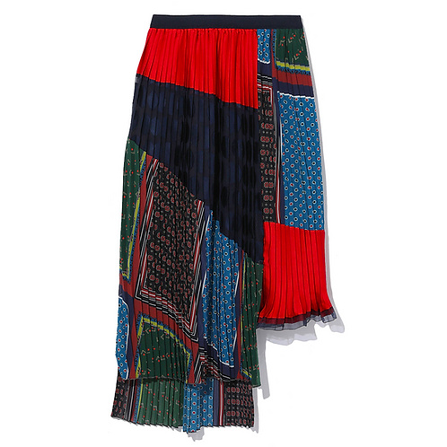 KOLOR PLEATED UNEVEN SKIRT RED MULTI