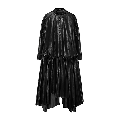 JUUN. J FAUX LEATHER PLEATED SHIRT DRESS
