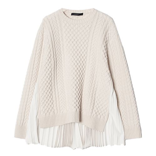 JUUN. J WOOL PLEATED KNIT SWEATER (IVORY)