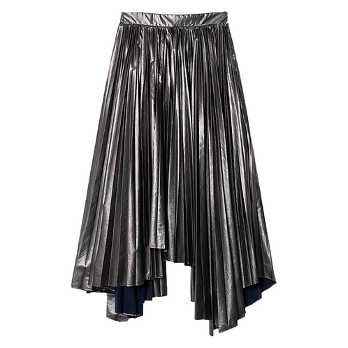JUUN. J SLIT PLEATED SKIRT SILVER