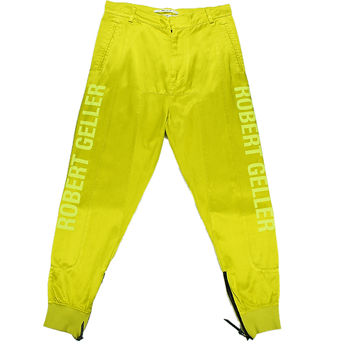 ROBERT GELLER SHINY CUFFED PANTS CITRON