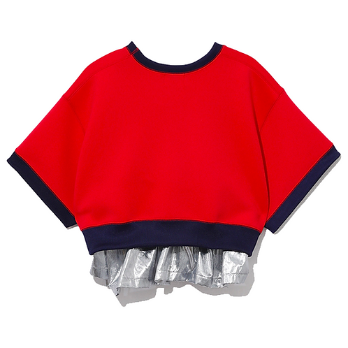 KOLOR  LAYERED CROPPED T-SHIRT RED