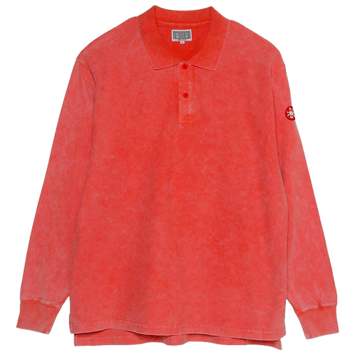 CAV EMPT BLEACHED RIB LONG SLEEVE POLO (ORANGE)