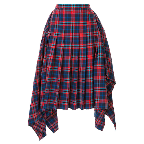 JUUN. J CHECKED ASYMMETRIC PLEATED SKIRT