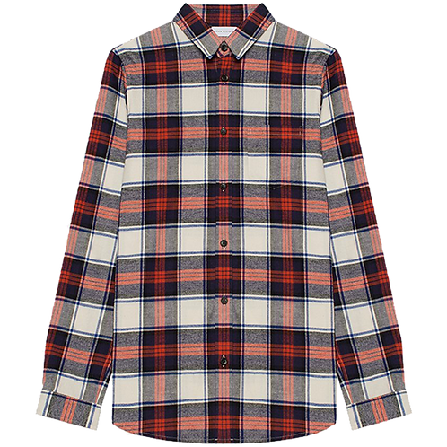 JOHN ELLIOTT BRUSHED FLANNEL BUTTON UP RED X NAVY PLAID