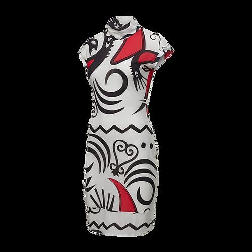 REEBOK by PYER MOSS MESH ALLOVER PRINT SANKOFA DRESS (WHITE)